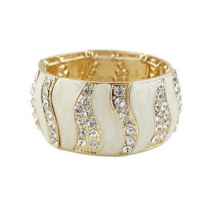 Rhinestones bangle fashion white wo..