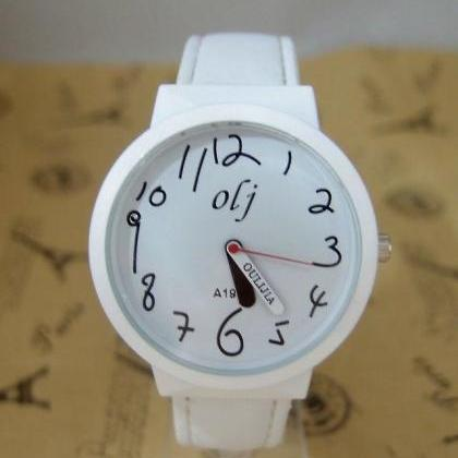 Trendy Teenage white Leather Strap ..