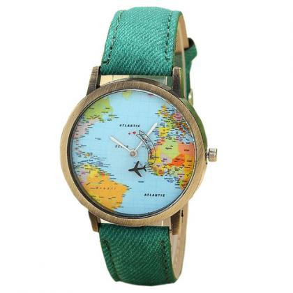 Green World Map Wanderlust Leather ..