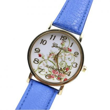 Wristwatch Floral Fashion Case Quar..