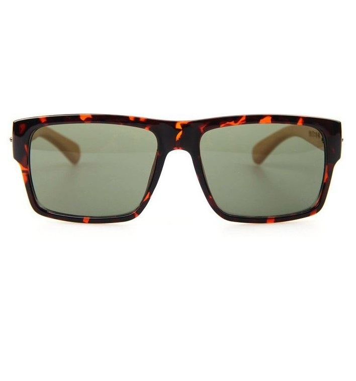 Wayfarer wood frame leopard fashion sunglasses