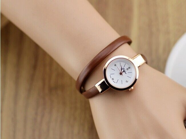 Wrap evening thin brown leather band woman watch