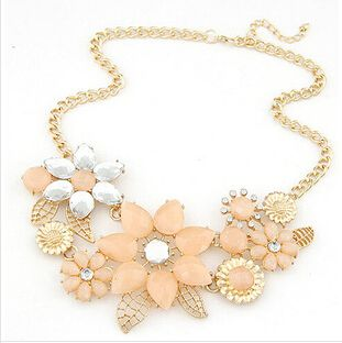 Flower Crystal and Rhinestone Alloy Statement Necklace