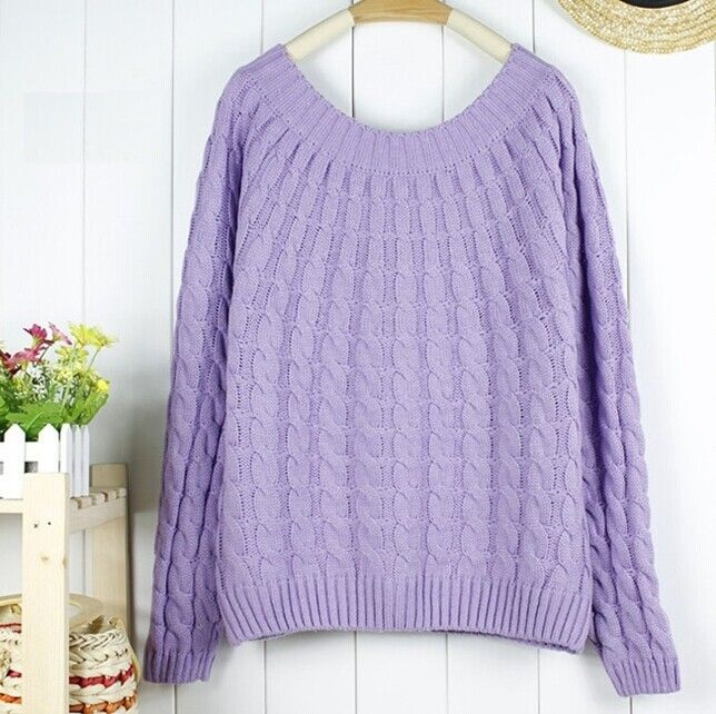 Winter sweater wool o-neck fashion purple pullover