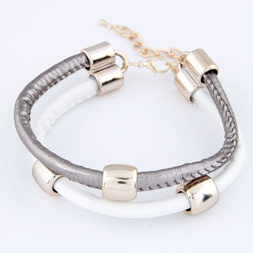 Two layers friendship gray unisex cool bracelet