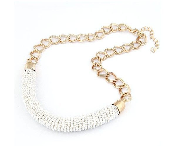 Valentine gift for her white beads fashion dress woman necklace