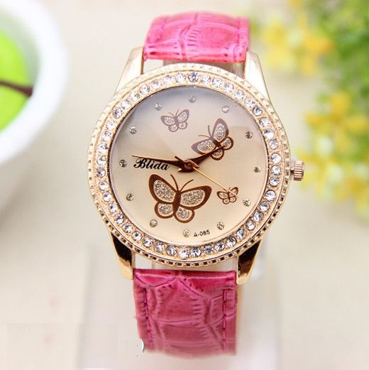 Cool teen butterfly rhinestones pink leather girl watch