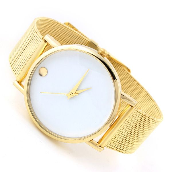 Gold colored fashion dress woman new brand watch