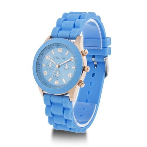 Rubber sky blue Strap Blue Casual Quartz Woman Watch