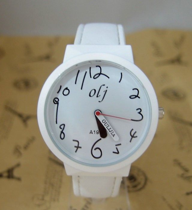 Trendy Teenage white Leather Strap Girl Watch