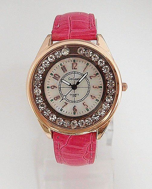 Dress pink Classy Rhinestones Leather Strap Lady Watch