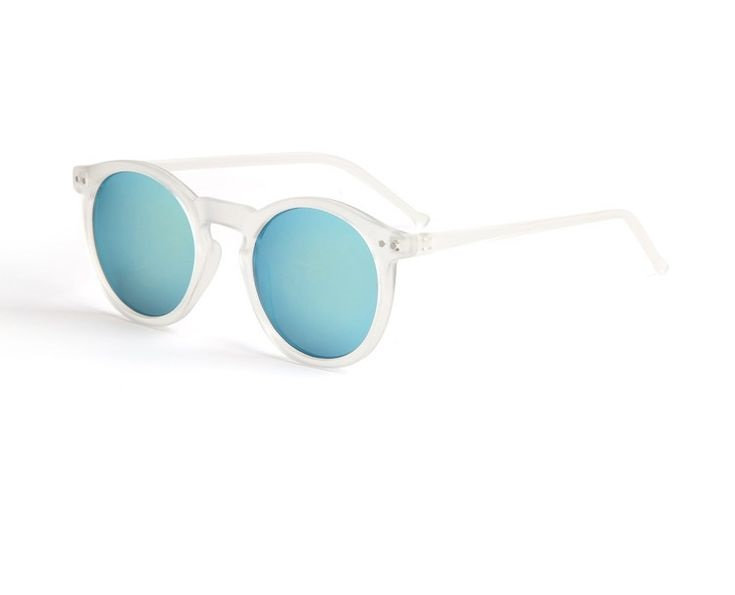 Round Blue Lens Summer Transparent Frame Girl Sunglasses on Luulla