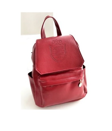 41d54d4e0f0 Fashion College Girl Red Pu Leather Cool Backpack
