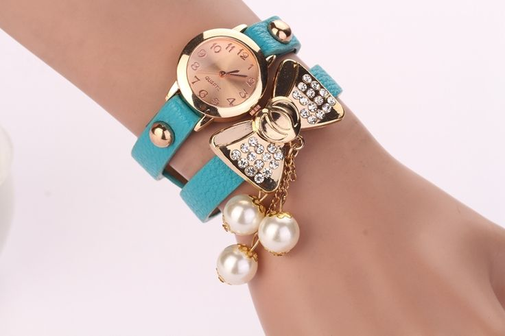 Bow Knot Dress Fashion blue Rhinestones Woman Watch