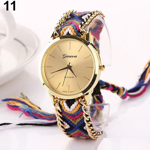 Hippie Cloth and chain strap Unisex Fashion Watch