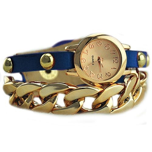 Gold colored chain - leather blue band dress woman watch