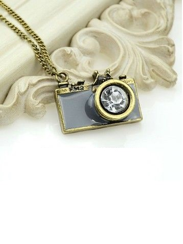Pendant camera vintage gray fashion girl necklace