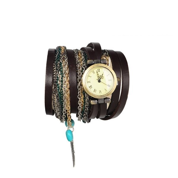 Multi Layer Retro Hippie Unisex Dark Brown Festival Watch