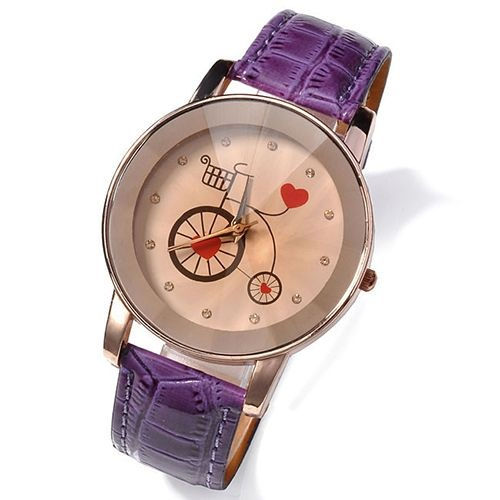 Cute bicycle love teen purple strap girl watch