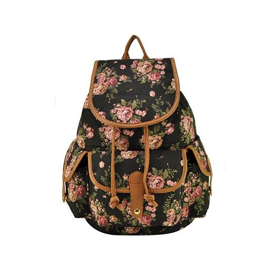 Flowers Teen Fashion Girl Best Friend Black Backpack on Luulla