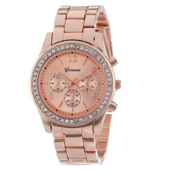 Classic stainless steel rose gold rhinestones woman watch