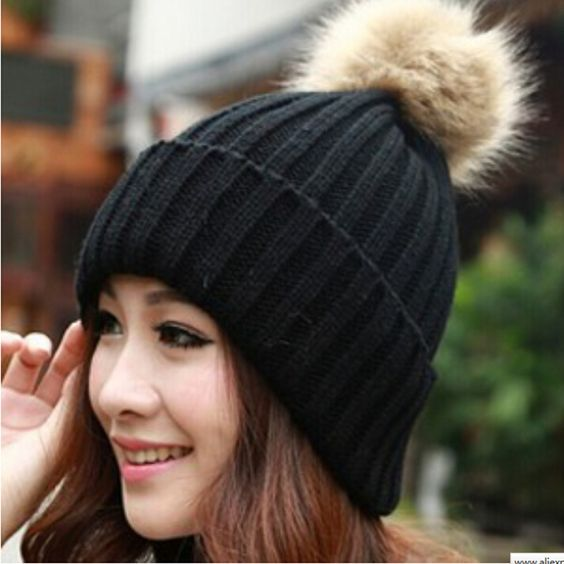 Winter Warm Snow Fun Knitted Cotton Black Woman Pompon Girl Hat on ... 914d7715b32