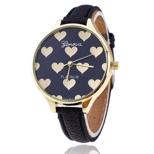 Fashion black hearts love valentine gift girl woman wristwatch