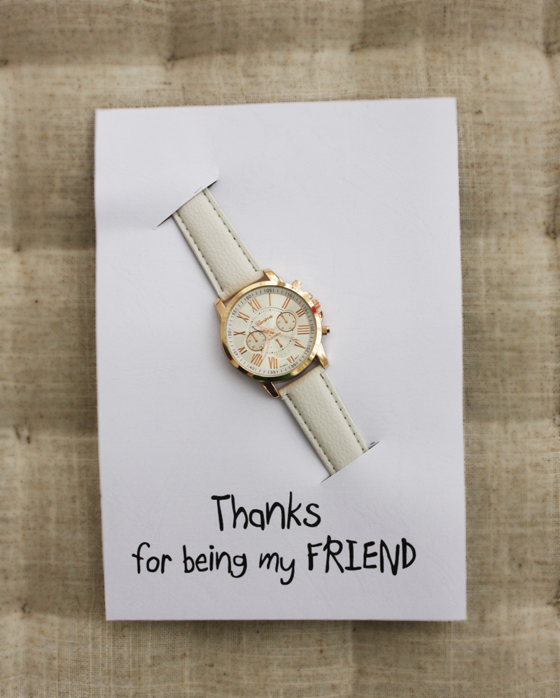 White Band Hippie Fashion Wrist Watch Unisex Girl party Thanks Being My FriendCard Watch