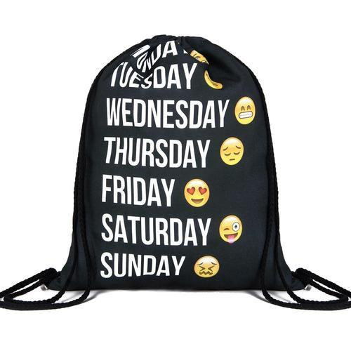 Travel School Age Every Day Of Week Emoji Design Drawstring Bag Woman Softback Backpack