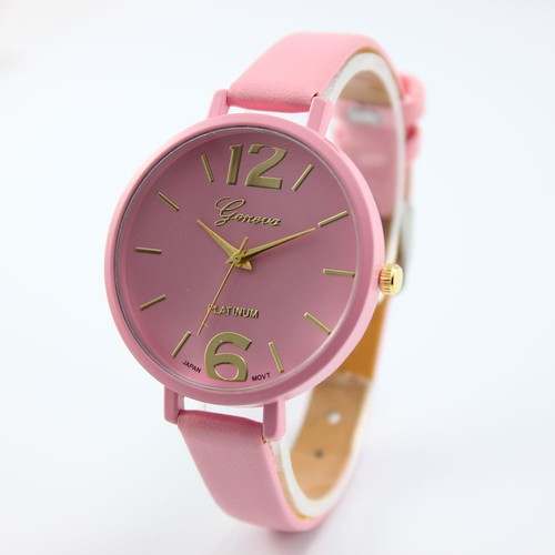 Pink Chic Thin black Band Fashion teen Girl school summer woman watch