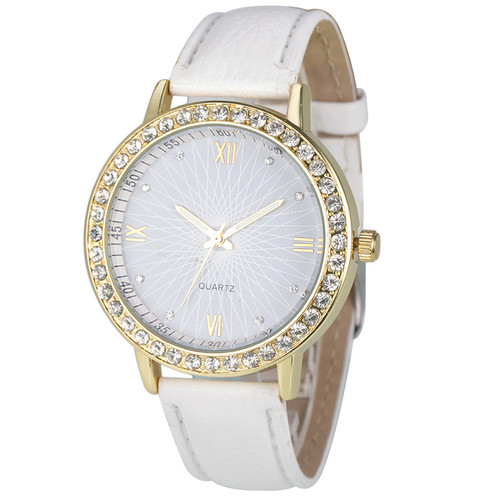 Elegant Rhinestone GOld Toned Case Dress Pu Leather White Strap Woman Gift Teen Watch
