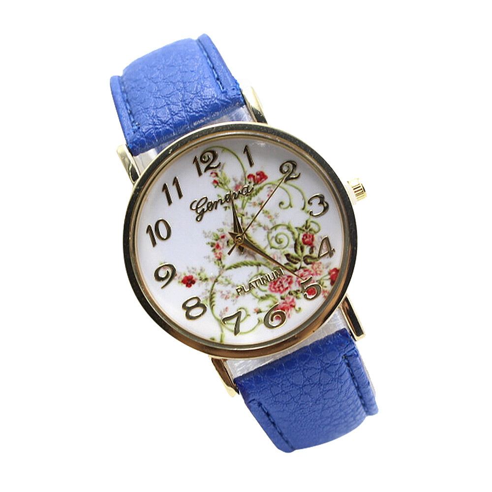 Wristwatch Floral Fashion Case Quartz Women Casual Blue PU Leather Band Watch