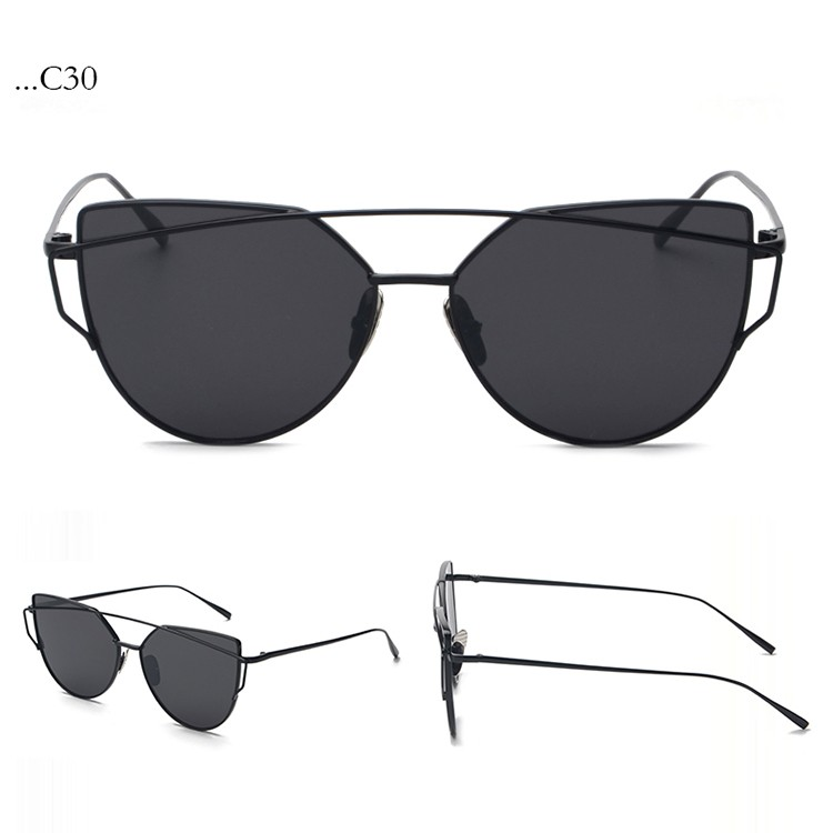 a284abc4868 Fashion Black Lenses Cat Eye Black Frame Sunglasses Women Sunglasses  Double-Deck Alloy Frame Sunglasses