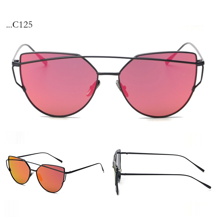 Fashion Red Lenses Cat Eye Sunglasses Women Sunglasses Double-Deck Alloy Black Frame Sunglasses