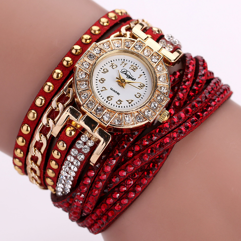 Wrap PU leather bracelet luxury dress woman red rhinestones elegant fashion gift watch
