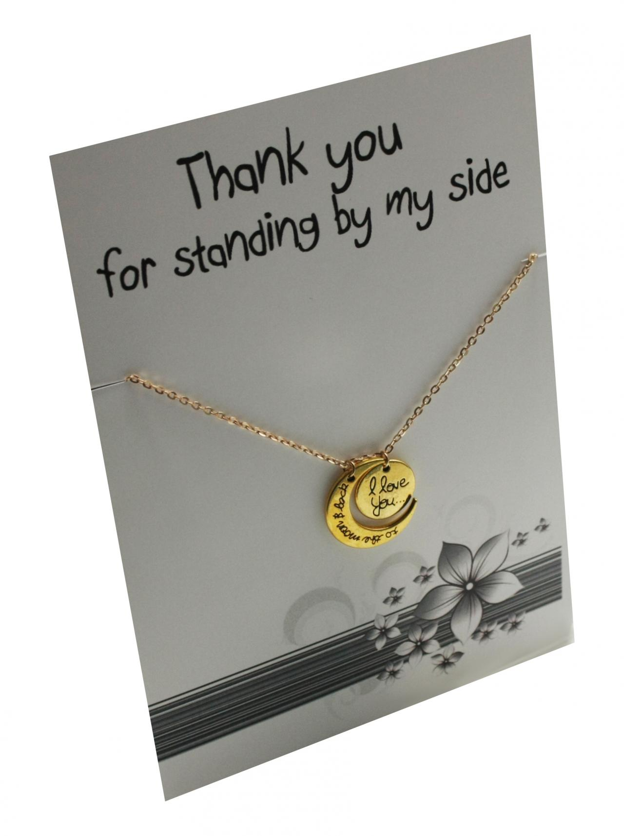 Thank you to the moon and back Gold toned Gift Card Pendant Necklace