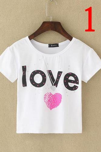 Listen to your Heart print Crop Top Girl Tee