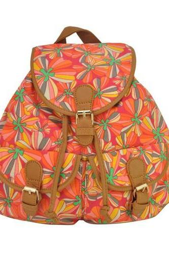 Hippie Flowers Design Colorful Back to School Travel Schoolgirl Canvas Woman Backpack