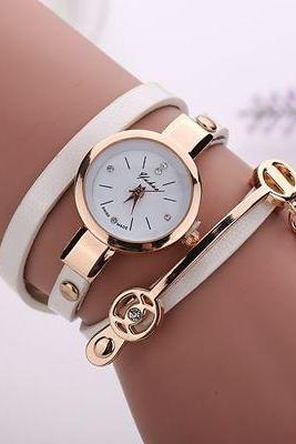 Wrap Pu leather white dress woman wrist watch