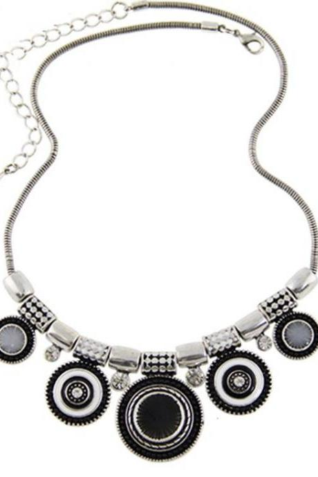 Bohemia fashion statement black ethnic woman necklace