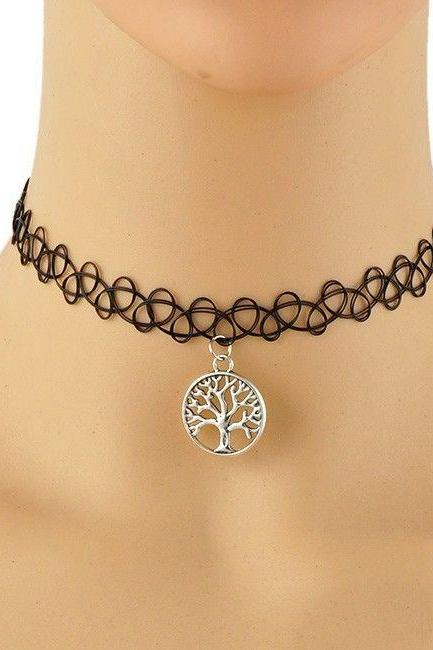 Tree pendant choker teen necklace