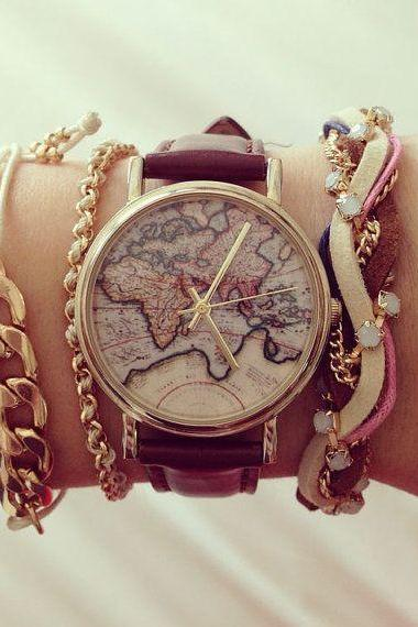World map Brown band woman watch