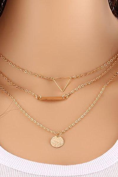 Gold 3 Layered Necklace with Triangle, Bar and Gold Plate Charm