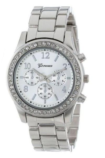 Classic stainless steel silver color rhinestones woman watch