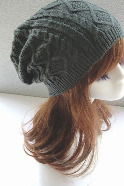 Girl fashion dark grey winter warm knitted hat