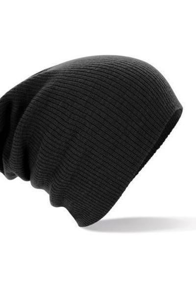 Winter unisex black color warm knitted hat