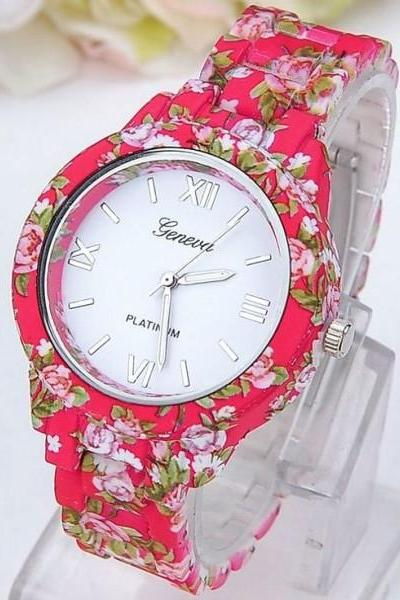 Flowers red fashion girl teen cute plastic band watch