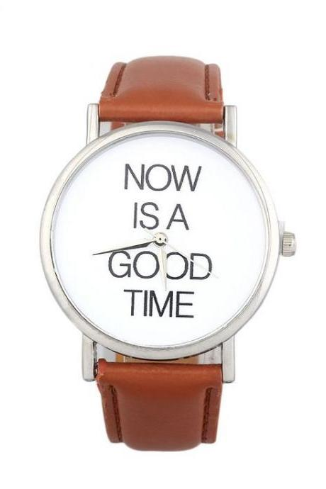 Now is a good time unisex brown watch