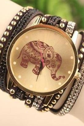Elephant face wrap black band rhinestones woman watch