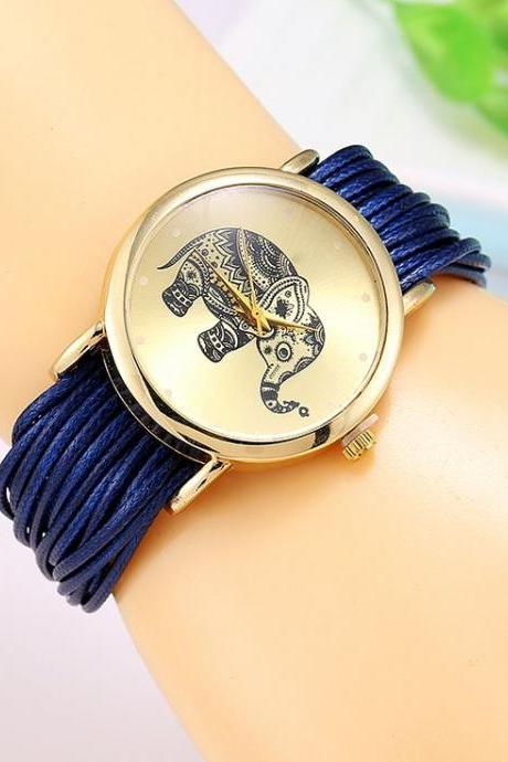 Dress bracelet elephant logo fashion blue watch